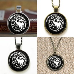 Wholesale Game Day Bracelet - 10pcs House targaryen game of thrones dragon jewelry Glass Photo Necklace keyring bookmark cufflink earring bracelet