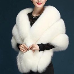 Wholesale White Fur Bride - Imitation Fur 2017 Winter Wedding Coat Bridal Fur Shawl Off White Burgundy Black Grey Brides Formal Accessories Faux Fur