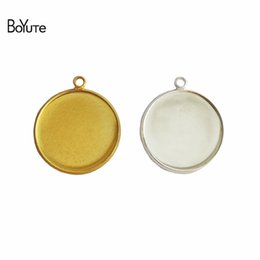 Wholesale 18mm Round Pendant Trays - BoYuTe 50Pcs 6 Colors Plated Round 10MM 12MM 14MM 16MM 18MM 20MM 25MM Cameo Cabochon Base Diy Blank Tray Pendant Base