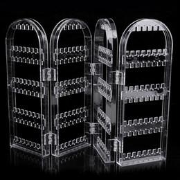 Wholesale Enamel Crystal Box - Transparent Multifunctional Plastic Folding Screen Earring Jewelry Display Stand Holder Rack Storage Box Jewelry