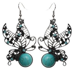 Wholesale Green Tibetan Turquoise - Big Discount Vintage Drop Earrings 1 Pair Bohemia Style Tibetan Silver Plated Butterfly Turquoise Dangle Earrings For Women