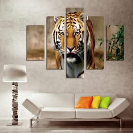 Wholesale Tiger Bedroom Wall - 5 Piece Canvas Art Set Fierce Tiger Painting Modern Canvas Prints Painting Yekkow HD Animal Wall Picture for Bedroom Home Decor