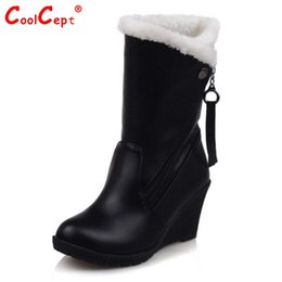 Wholesale B 52 - Wholesale- Size 30-52 Woman Round Toe Wedge Mid Calf Boots Women Thickened Fur Winter Warm Half Snow Botas High Quality Shoes Footwear