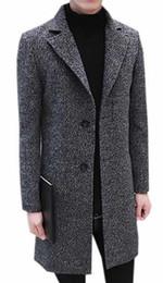 Venta al por mayor- Abrigo delgado MLG Mens conciso de solapa medio-largo abrigo delgado desde fabricantes