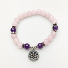 Wholesale Silver Mala - SN1139 New Design Yoga Jewelry Silver Lotus Bracelet Lotus Charm Designfor Girls Rose Quartz Mala Bracelet Healing Peace and Love Bracelet