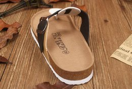 Wholesale Rubber Clogs For Women - 2017 New Summer Designer Women Sandals Lovers PU Leather Corks Sole Beach Slippers Sandals For Women Fashion Couple Clogs Flip Flops Shoes