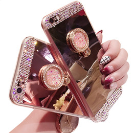 Wholesale Ring Mirror - Luxury Diamond Soft TPU Crystal Rhinestone Glitter Mirror Case for Iphonex 6 6s 7 8Plus Cover with Ring Holder Stand