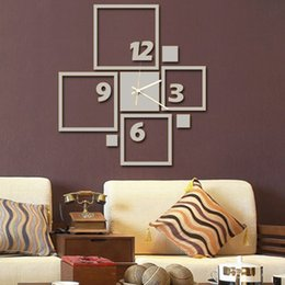 Wholesale Wall Decals Kitchen - 3D Diy Art Geometric Stickers Wall Decals for Home Kitchen Indoor Silent Watch Extra Large Modern Design