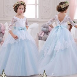 Wholesale Cheap Christmas Prom - 2016 Lovely Cheap Baby Princess Floor Length Flower Girl Dresses For Weddings Long Sleeves Lace Appliques Wedding Prom Birthday Tutu Dress