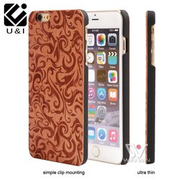 Wholesale Mobile Cover Designers - Flower Engraving Designer Wood Mobile Phone Skin for iPhone 5 5S 6 6S 6Plus 7Plus Plus Hybrid Rubber Cover Cell Phone Capa Protector