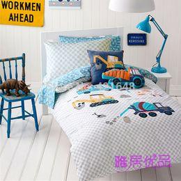 Wholesale Boys Queen Quilt Sets - Wholesale-Free shipping cementing truck&excavator bedding set kids boys cartoon 3pcs 4pcs wrecker quilt cover&pillowcase without filler