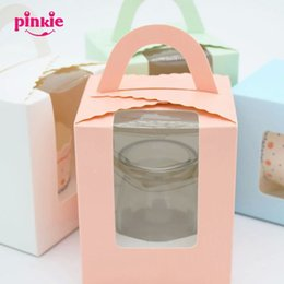 Wholesale Cup Cake Packaging - Wholesale-10 pcs lot package cupcake wrapper pure color window glass paper mousse cake box wood chaff cup pudding bottle party decoration