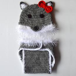 Beanie lobo on-line-Lobo cinzento Traje Do Bebê, Handmade Malha Crochet Baby Boy Animal Menina Beanie Hat e Fralda Capa Set, roupa Infantil, Foto Prop