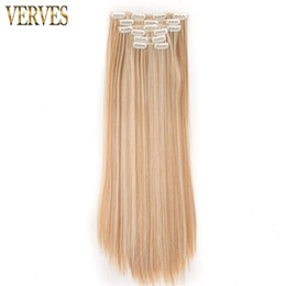 Wholesale Synthetic Clip 16 - Synthetic Hair with Clip VERVES 6 pcs 16 Clips-in Hair Extension 24 inch Long straight Hairpiece Heat Resistant Hair