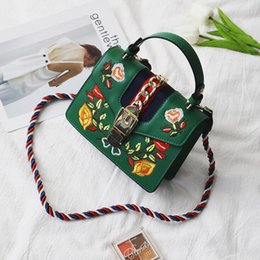 Wholesale Green Hobo Purse - Embroidery bags for women handbag fashion tide cross body clutches evening purse bag 2017 pu handbags women bags