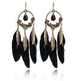 Wholesale Feather Diamond Earrings - Europe Hot Selling Earrings Fashion Bohemia Retro Black Gem Feather Stud Earrings Plating Alloy Women Earrings Jewelry Wholesale