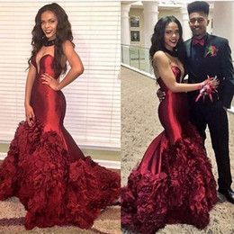 Wholesale Sweetheart Court Train Taffeta Tulle - 2017 New 2k17 Burgundy Sweetheart Keyhole Sheer Neck Prom Dresses Mermaid Tiered Ruffles Flowers Court Train Plus Size Evening Party Gowns