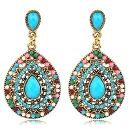 Wholesale Earring Big For Party - RAVIMOUR Bohemian Long Earrings for Women Vintage Gold Color Water Drop Earring Fashion Jewelry Ethnic Boho Big Beads Aretes 2017