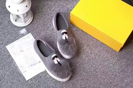 Wholesale Cartoon Shoe Laces - 2017Fendi New style female shoes Cartoon characters grey plush upholstery leisure shoes The flat canvas Outdoor shoes
