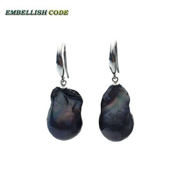 Wholesale Hook Freshwater Pearl Earring - special big size black color baroque Irregular stely hook earring flame ball shape natural freshwater pearl 925 silver for women
