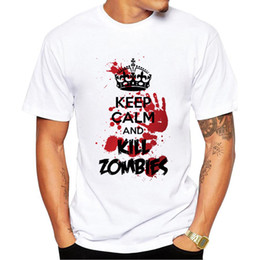 Wholesale White Zombie Shirt - 2017 Fashion Keep Calm and Kill Zombies Print T Shirts Men's T-Shirt Shorts Sleeve Brand NEW Summer Male Tops Tees Casual Shirts for Man