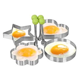 Wholesale Egg Biscuit - Fried Egg Mold Non-Stick Stainless Steel Cartoon Heart DIY Cooking Biscuit Meatloaf Mold Set Tool Pancake Mold Kitchen Accessories