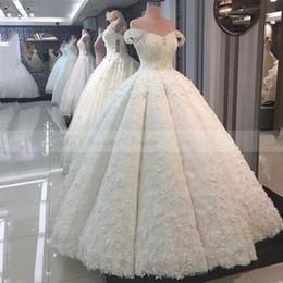 Wholesale Empire Ball Gown Wedding Dresses - 3D-Floral Sweety 2017 Ball Gown Wedding Dresses lace tiered skirts Off-Shoulder sleeveless Floor-length Satin Applique Beaded wedding gowns