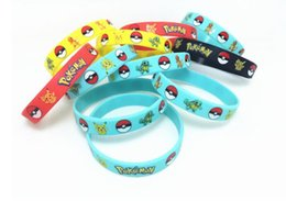 Wholesale Pvc Wrist Bands - Cosplay toys Silicone Bracelets Pocket Monster Wristband Soft poke ball Wrist band Straps Figures Kids Toys Kids christmas kids Gift best