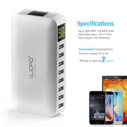 Wholesale Uk Desktops - iLepo 8 Ports USB Charging Station Wall Charger AC Adapter 5V8A Fast Phone iPad Desktop Chargers Plugs with AlPower Tech