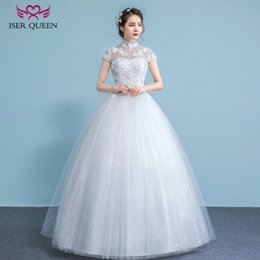 Wholesale Custom Dresses China - ISER QUEEN High Neck Stand Collar Plus Size Wedding Dress China Hollow Back Short Sleeve A line Vintage Lace Wedding Dresses WX0025