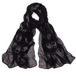 Wholesale Solid White Scarves - 2017 Hot Sale Women's Diamond Skull Pattern Long Hijab Scarf Solid Spring-Summer Scarf Shawls For Women 4Colors Bandana RO17115