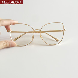 Сексуальные черные женские очки онлайн-Wholesale- Peekaboo new sexy big cat eye glasses frames for women  black silver gold clear fashion glasses cat eye metal frame