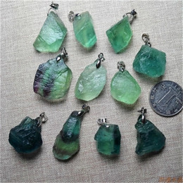 Wholesale Fluorite Pendant Necklace - Tiny Freeform Raw Rainbow Fluorite Crystal Pendant Necklace Random Color Semi Precious Nugget Stone Beads Rough Gemstone Reiki Infused 10Pcs