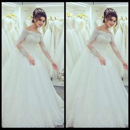 Wholesale Boat Chart - Vestidos De Noiva 2017 Real High Quality Custom Made Boat Neck Zipper Back Tulle Long Sleeve White Lace Wedding Dress
