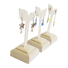 Wholesale Jewellery Stand Earrings - Jewelry Stand New High Quality 3pcs lot Beige Velvet Jewellery Earrings Display Shelf Holder Body Jewelry Dangling Stand Rack