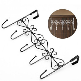 Wholesale Wall Coat Hanger Iron - Wholesale- Iron Art Back Door Hanger Hook Bathroom Kitchen Organizer Hanger Hooks With 5-Hook Towel Hat Coat Clothes Door Wall Hooks