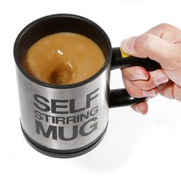 Wholesale Stirring Electic Coffee Mug - Wholesale- 350ml Electic Cooking Tool Automatic Mixing Coffee Cup Stainless Steel Coffee Mug Mug Self Stirring Mug B0211