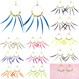 Wholesale Feather Earrings Gold Charms - Feather Earrings 12 Colors wholesale lots Golden Circle Charm Bead Elegant Dangle Eardrop ( Turquoise Gray Burgundy Hot Pink White ) (JF283)