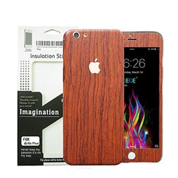 Wholesale Full Decals - Wood Sticker For iPhone 7 6 6s Plus Luxury Phone Full Body Decal Wrap Protective wooden Whole Boday Sticker With Retail Package