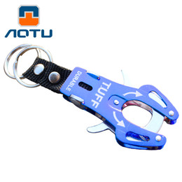 Wholesale Wholesale Tiger Keychain - AOTU Outdoor Multitool Tiger Buckle Aluminum Alloy Hanging Keychain Camping Equipment Climbing Carabiner Survival Kit Tool 056
