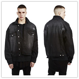 Wholesale Jaqueta Jeans Masculina - Denim Jacket Men with Hole Fashion 2017 Streetwear Jaqueta Jeans Masculina Mens Jackets and Coats Oversize Bat Design Kanye West