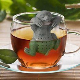 Wholesale Cute Sloth - Unique Cute Lazy Sloth Tea Strainer Life Partner Cute Lazy Bradypod Silicone Tea Infuser Filter Teapot for Tea & Coffee Drinkware