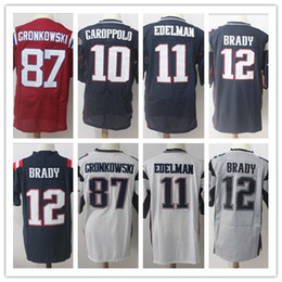 Wholesale Tom Brady Football Jerseys - 2017 New Men Tom Brady 12 Julian Edelman 11 Jersey Rob Gronkowski 87 Jimmy Garoppolo 10 Elite Limited Color Rush Football Jerseys