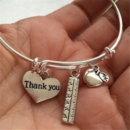 Wholesale Wholesale Christmas Charms - 12pcs Teacher-Bracelet with apple, ruler and thank you heart for teachers silver tone bangles