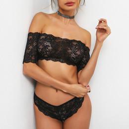 Wholesale Lingerie Transparent Set - Lace bra&brief sets women intimates Transparent lingerie set sexy bra Off shoulder famale balconette brassiere femme