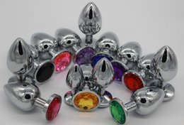 Wholesale Jeweled Stainless Steel Anal Plug - SALE and DHL Free ship! Stainless Steel Anal Plug Colorful Jeweled Small Size For Men and Woman's Anal great FUN