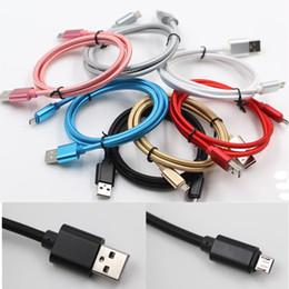 Cabo longo on-line-Carcaça de metal Trançado Micro USB Cabo 2.1A de Carregamento de Dados de Alta Velocidade Tipo USB C 1 M / 3FT Tempo Longo