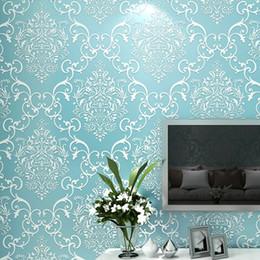 Wholesale damascus wallpaper - European Style 3D Embossed Wallpaper Classic Damascus Non-woven Fabric Wallpaper For LivingRoom Bedroom TV Background Walls Roll