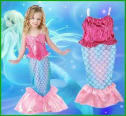 Wholesale One Piece Shell - Girls mermaid siamese swimsuit children falbala shell embroidery swimwear kids two wear swimwear girls Fish scale beach Bathing Suit T2632