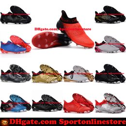 Wholesale Limited Soccer Cleats - Red Limit X 16+ Purechaos FG Firm Ground Soccer Boots Mens High Tops Football Boots New Soccer Shoes Cheap Soccer Cleats 2017 Wholesale